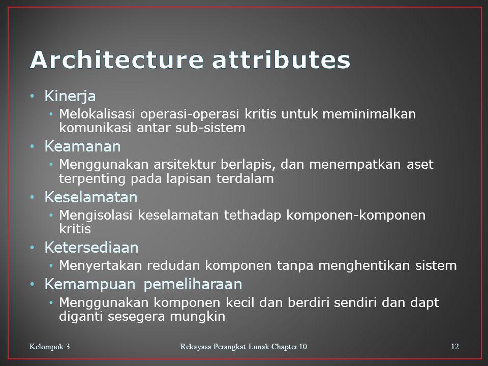 Kinerja Melokalisasi operasi-operasi kritis untuk meminimalkan komunikasi antar sub-sistem Keamanan Menggunakan arsitektur berlapis, dan menempatkan a