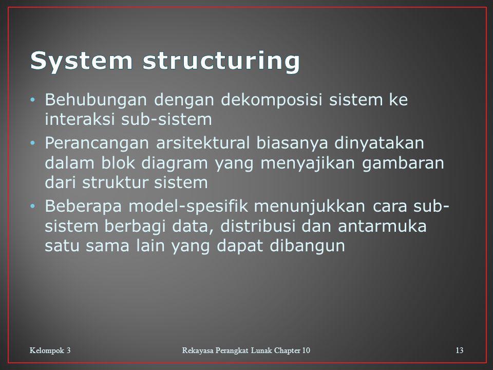 Behubungan dengan dekomposisi sistem ke interaksi sub-sistem Perancangan arsitektural biasanya dinyatakan dalam blok diagram yang menyajikan gambaran dari struktur sistem Beberapa model-spesifik menunjukkan cara sub- sistem berbagi data, distribusi dan antarmuka satu sama lain yang dapat dibangun Kelompok 3Rekayasa Perangkat Lunak Chapter 1013