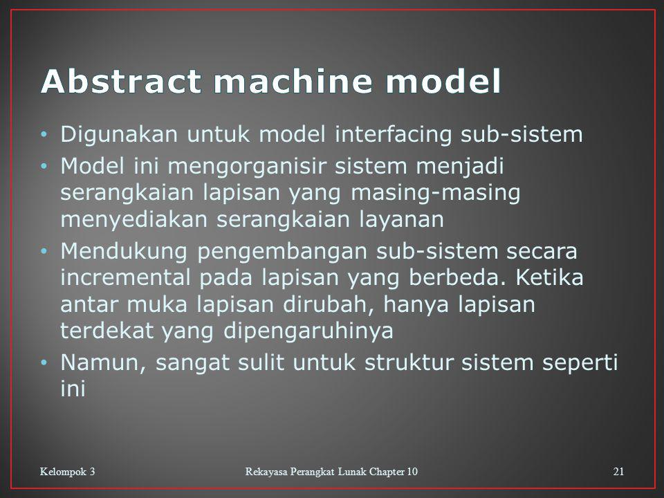 Digunakan untuk model interfacing sub-sistem Model ini mengorganisir sistem menjadi serangkaian lapisan yang masing-masing menyediakan serangkaian layanan Mendukung pengembangan sub-sistem secara incremental pada lapisan yang berbeda.
