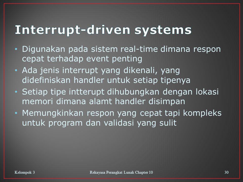 Digunakan pada sistem real-time dimana respon cepat terhadap event penting Ada jenis interrupt yang dikenali, yang didefiniskan handler untuk setiap t