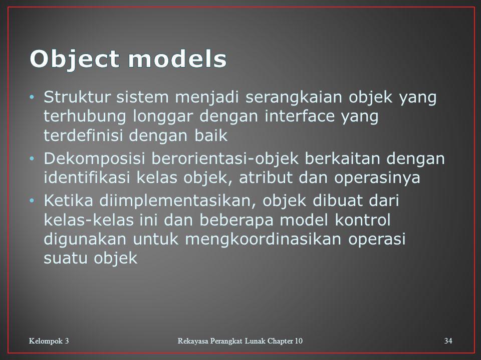 Struktur sistem menjadi serangkaian objek yang terhubung longgar dengan interface yang terdefinisi dengan baik Dekomposisi berorientasi-objek berkaitan dengan identifikasi kelas objek, atribut dan operasinya Ketika diimplementasikan, objek dibuat dari kelas-kelas ini dan beberapa model kontrol digunakan untuk mengkoordinasikan operasi suatu objek Kelompok 3Rekayasa Perangkat Lunak Chapter 1034