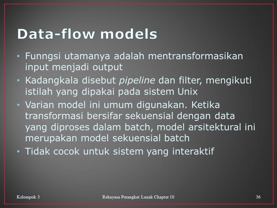 Funngsi utamanya adalah mentransformasikan input menjadi output Kadangkala disebut pipeline dan filter, mengikuti istilah yang dipakai pada sistem Unix Varian model ini umum digunakan.