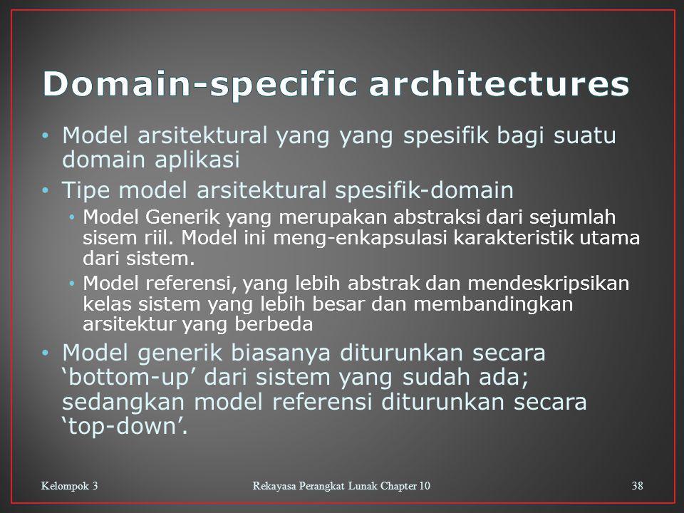 Model arsitektural yang yang spesifik bagi suatu domain aplikasi Tipe model arsitektural spesifik-domain Model Generik yang merupakan abstraksi dari sejumlah sisem riil.