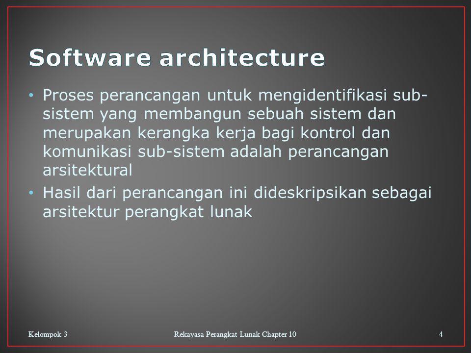 Proses perancangan untuk mengidentifikasi sub- sistem yang membangun sebuah sistem dan merupakan kerangka kerja bagi kontrol dan komunikasi sub-sistem adalah perancangan arsitektural Hasil dari perancangan ini dideskripsikan sebagai arsitektur perangkat lunak Kelompok 3Rekayasa Perangkat Lunak Chapter 104