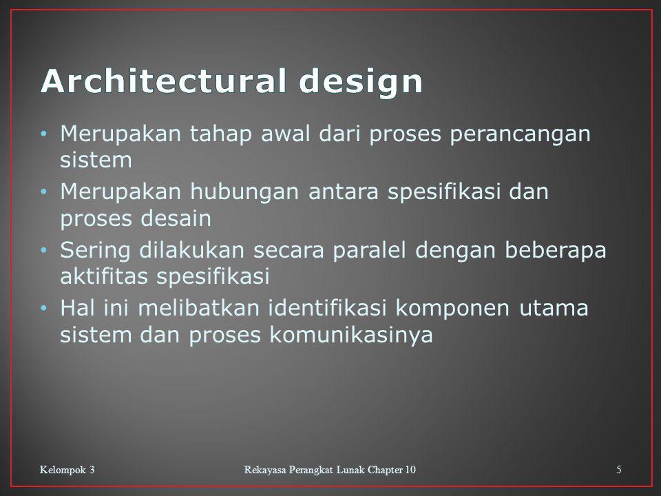 Merupakan tahap awal dari proses perancangan sistem Merupakan hubungan antara spesifikasi dan proses desain Sering dilakukan secara paralel dengan beberapa aktifitas spesifikasi Hal ini melibatkan identifikasi komponen utama sistem dan proses komunikasinya Kelompok 3Rekayasa Perangkat Lunak Chapter 105