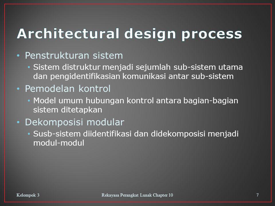 Penstrukturan sistem Sistem distruktur menjadi sejumlah sub-sistem utama dan pengidentifikasian komunikasi antar sub-sistem Pemodelan kontrol Model um