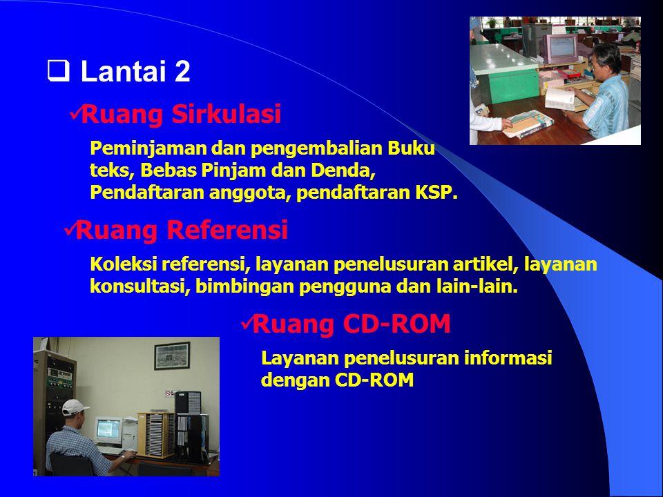  Lantai 2 Peminjaman dan pengembalian Buku teks, Bebas Pinjam dan Denda, Pendaftaran anggota, pendaftaran KSP.