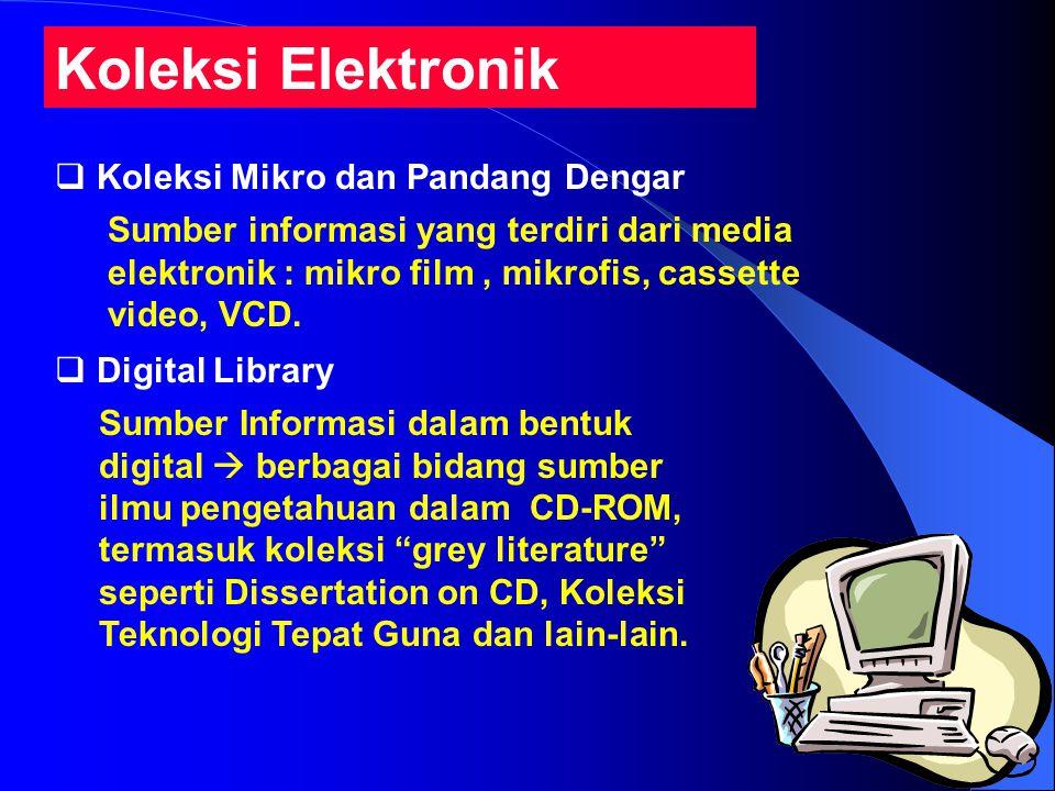 Koleksi Elektronik  Koleksi Mikro dan Pandang Dengar  Digital Library Sumber informasi yang terdiri dari media elektronik : mikro film, mikrofis, cassette video, VCD.