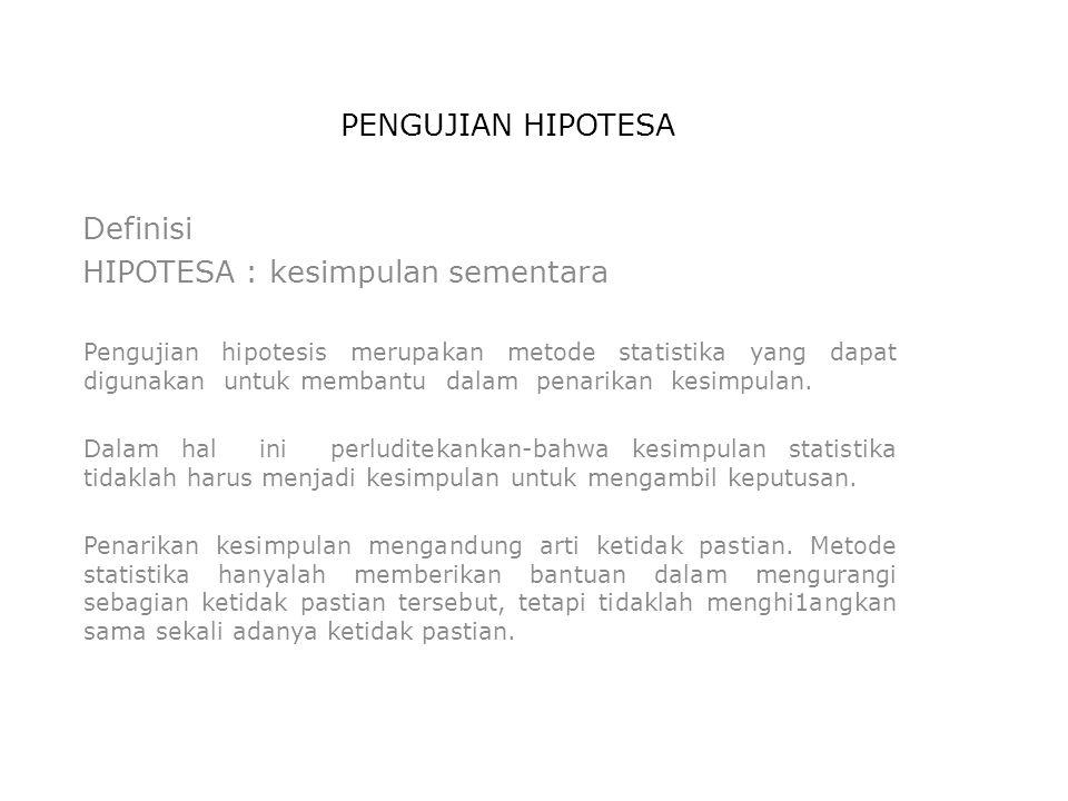 PENGUJIAN HIPOTESA Definisi HIPOTESA : kesimpulan sementara Pengujian hipotesis merupakan metode statistika yang dapat digunakan untuk membantu dalam