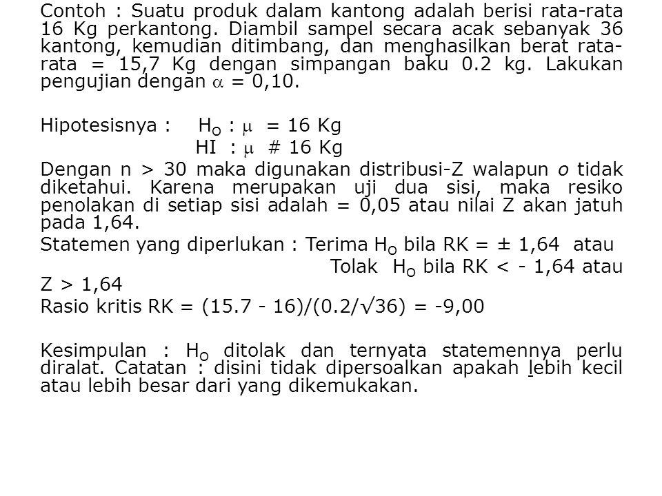 Contoh : Suatu produk dalam kantong adalah berisi rata-rata 16 Kg perkantong. Diambil sampel secara acak sebanyak 36 kantong, kemudian ditimbang, dan