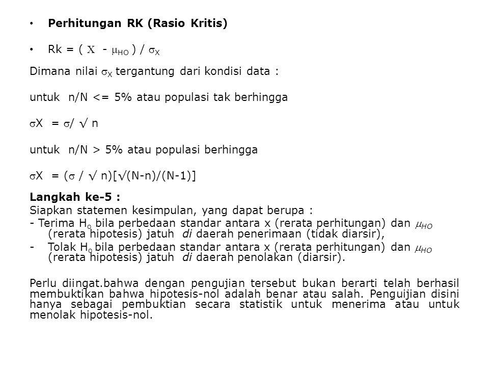 Perhitungan RK (Rasio Kritis) Rk = (  -  HO ) /  X Dimana nilai  X tergantung dari kondisi data : untuk n/N <= 5% atau populasi tak berhingga X =