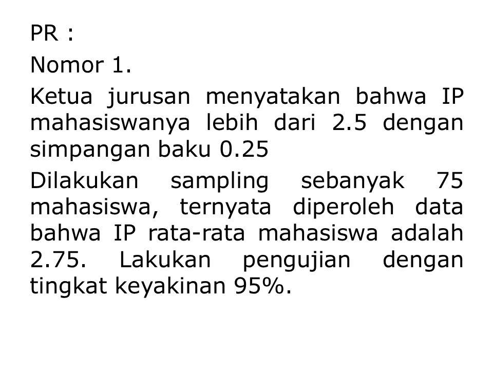 PR : Nomor 1. Ketua jurusan menyatakan bahwa IP mahasiswanya lebih dari 2.5 dengan simpangan baku 0.25 Dilakukan sampling sebanyak 75 mahasiswa, terny