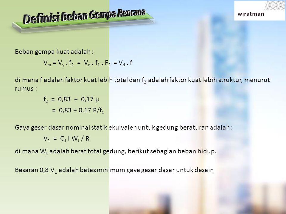 Beban gempa kuat adalah : V m = V y. f 2 = V d. f 1. F 2 = V d. f di mana f adalah faktor kuat lebih total dan f 2 adalah faktor kuat lebih struktur,