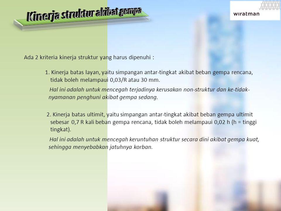 Ada 2 kriteria kinerja struktur yang harus dipenuhi : 1.