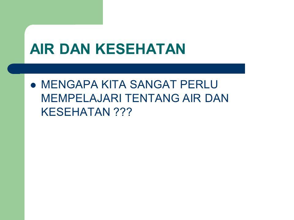 AIR DAN KESEHATAN MENGAPA KITA SANGAT PERLU MEMPELAJARI TENTANG AIR DAN KESEHATAN ???