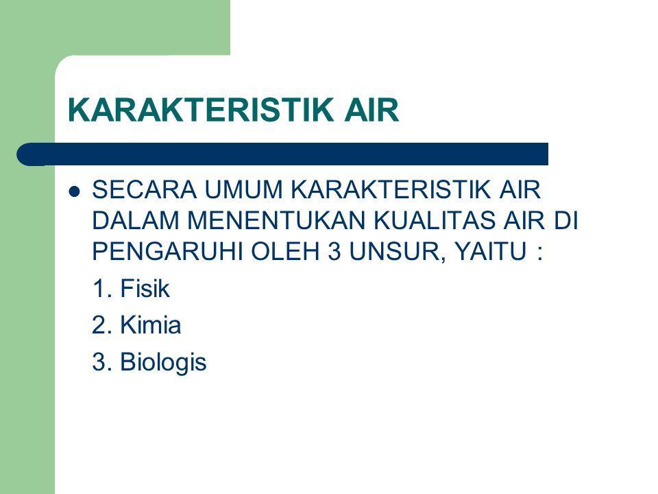 KARAKTERISTIK AIR SECARA UMUM KARAKTERISTIK AIR DALAM MENENTUKAN KUALITAS AIR DI PENGARUHI OLEH 3 UNSUR, YAITU : 1.