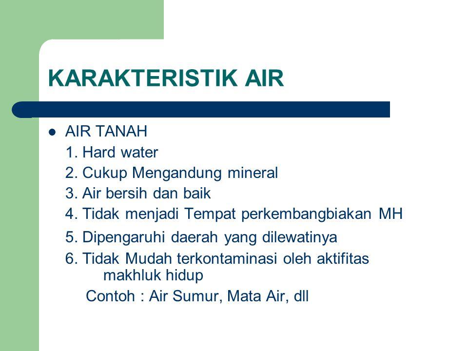 AIR TANAH 1.Hard water 2. Cukup Mengandung mineral 3.