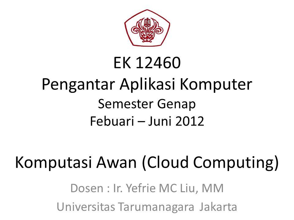 EK 12460 Pengantar Aplikasi Komputer Semester Genap Febuari – Juni 2012 Komputasi Awan (Cloud Computing) Dosen : Ir.