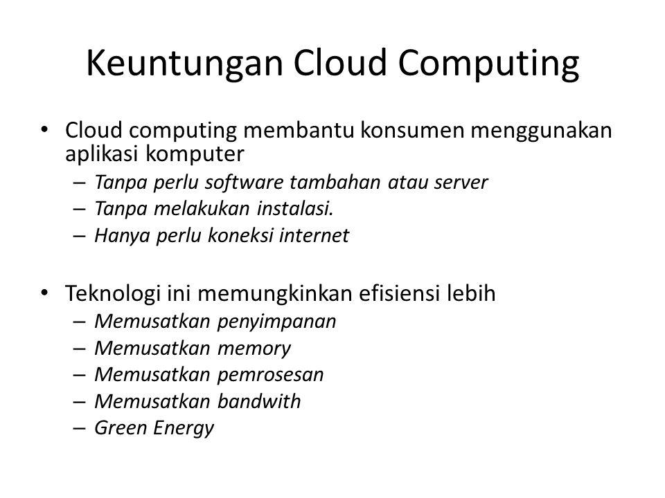 Cloud computing membantu konsumen menggunakan aplikasi komputer – Tanpa perlu software tambahan atau server – Tanpa melakukan instalasi.