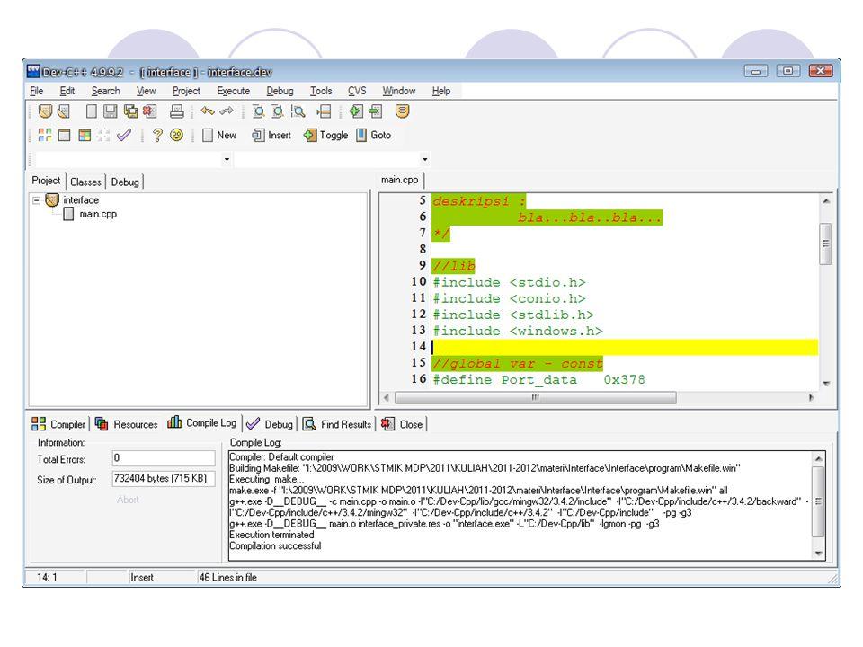 Mengeluarkan data ke Port Control Procedure WritePortControl(adata: integer) begin Out32(Port_ctrl, adata xor $0b); //bit 0,1,3 inverted end; Membaca Port Data sebagai input //start baca dari port data Procedure StartReadPortData begin Out32(Port_data, $ff); //set port data = 0xff Out32(Port_ctrl, $20); //set port ctrl.5 = 1 end; //stop baca dari port data Procedure StopReadPortData begin Out32(Port_ctrl, 0); //set port ctrl.5 = 0 end; //baca dari port data Function ReadPortData: integer begin result Inp32(Port_data); //read port data end;
