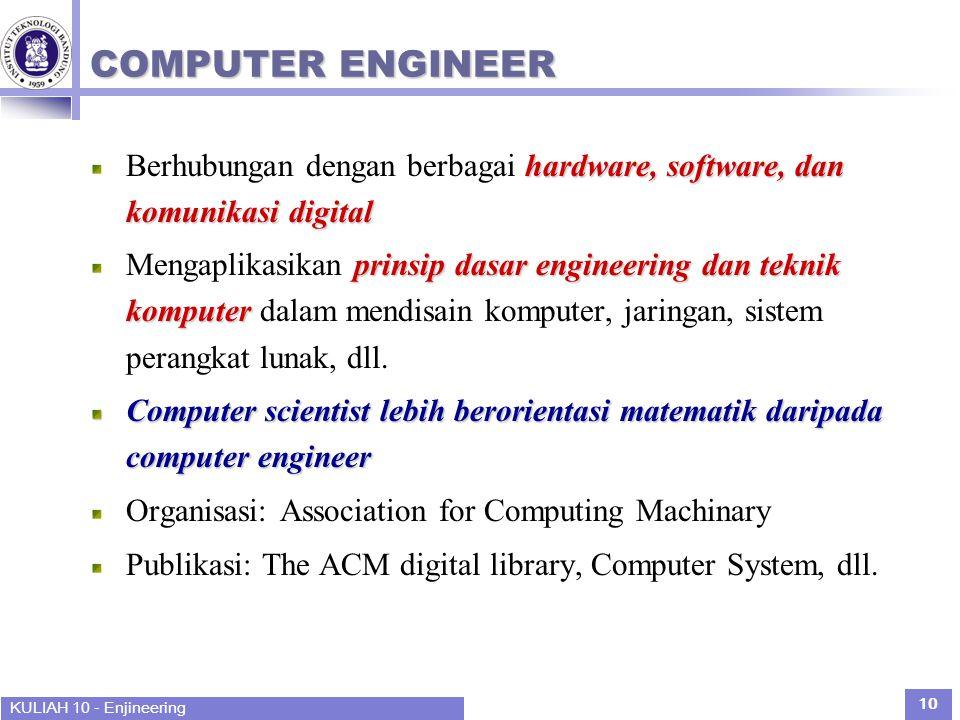 KULIAH 10 - Enjineering 10 COMPUTER ENGINEER hardware, software, dan komunikasi digital Berhubungan dengan berbagai hardware, software, dan komunikasi