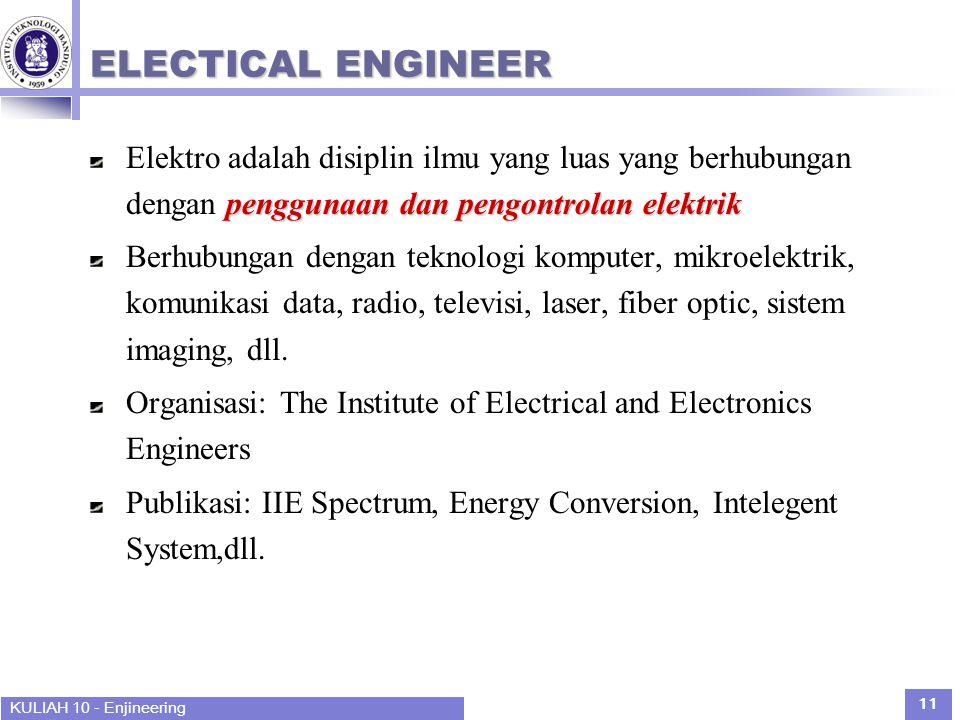KULIAH 10 - Enjineering 11 ELECTICAL ENGINEER penggunaan dan pengontrolan elektrik Elektro adalah disiplin ilmu yang luas yang berhubungan dengan penggunaan dan pengontrolan elektrik Berhubungan dengan teknologi komputer, mikroelektrik, komunikasi data, radio, televisi, laser, fiber optic, sistem imaging, dll.