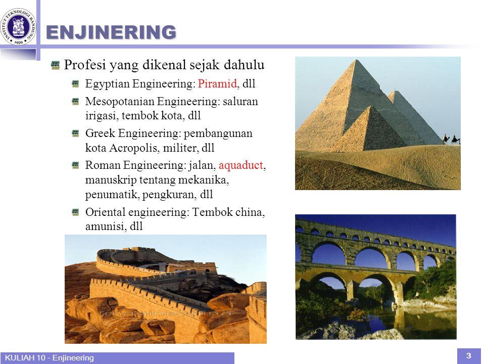 KULIAH 10 - Enjineering 3 ENJINERING Profesi yang dikenal sejak dahulu Egyptian Engineering: Piramid, dll Mesopotanian Engineering: saluran irigasi, t