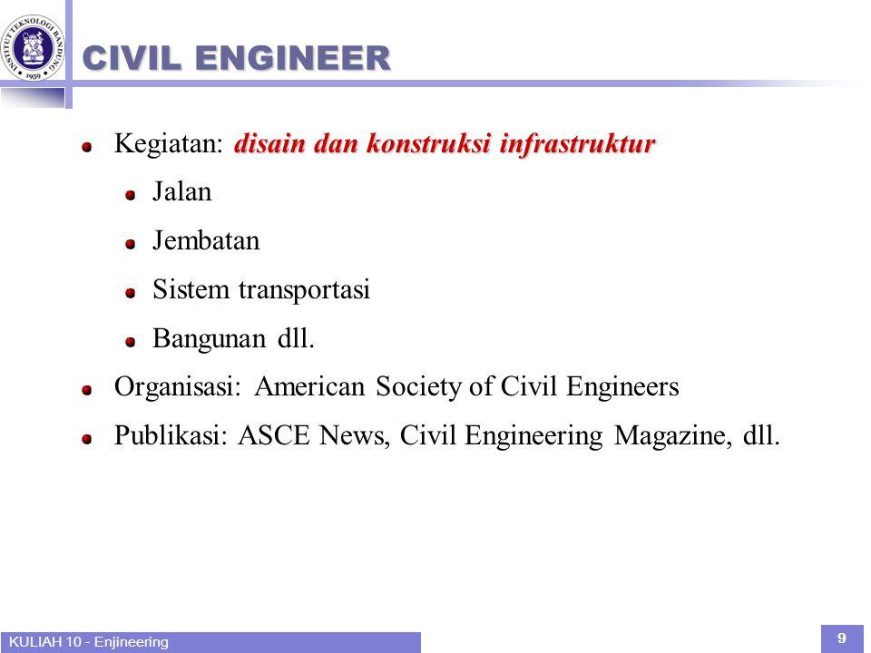 KULIAH 10 - Enjineering 9 CIVIL ENGINEER disain dan konstruksi infrastruktur Kegiatan: disain dan konstruksi infrastruktur Jalan Jembatan Sistem transportasi Bangunan dll.