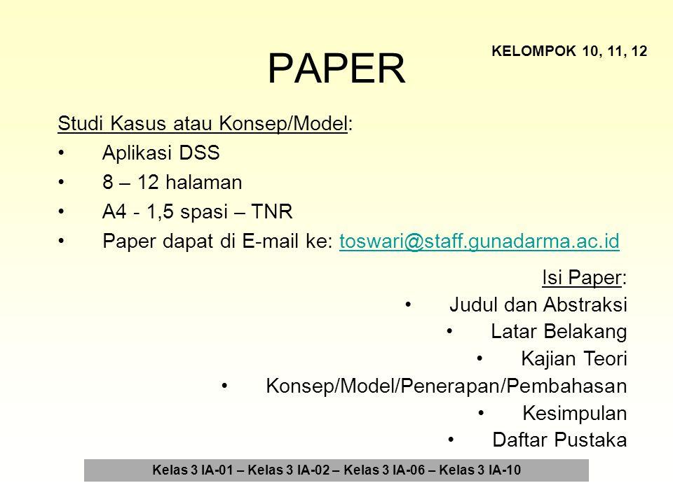 PAPER Studi Kasus atau Konsep/Model: Aplikasi DSS 8 – 12 halaman A4 - 1,5 spasi – TNR Paper dapat di E-mail ke: toswari@staff.gunadarma.ac.idtoswari@s
