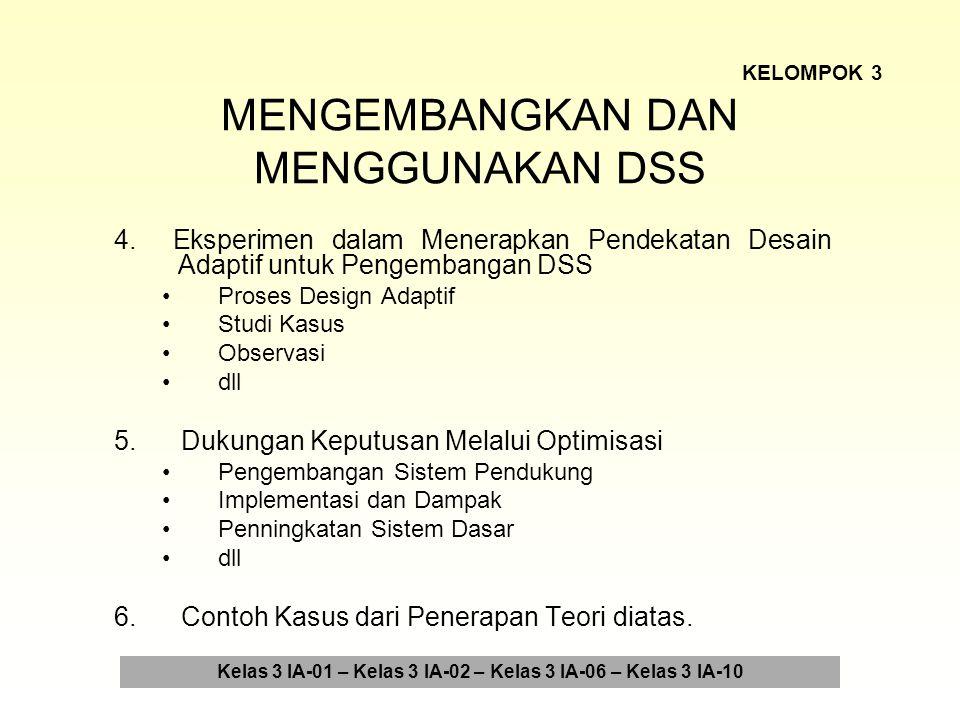 ARSITEKTUR UNTUK DSS 1.Komponen Arsitektur untuk DSS Komplementasi Dialog Komponen Data Komponen Model dll 2.Penelitian Persyaratan Database untuk DSS Kerangka Konseptual Metode Studi Penemuan dan Pembahasan dll 3.Contoh Kasus dari Penerapan Teori diatas.