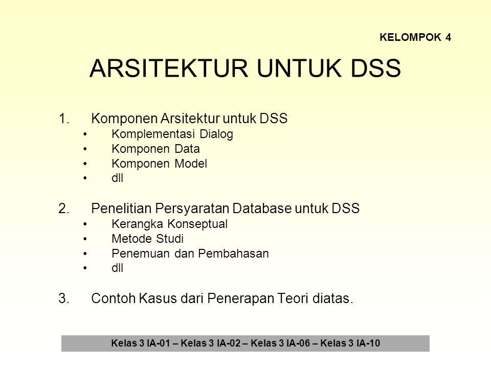ARSITEKTUR UNTUK DSS 4.