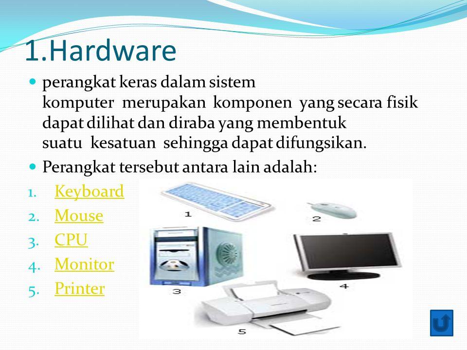 1.Hardware perangkat keras dalam sistem komputer merupakan komponen yang secara fisik dapat dilihat dan diraba yang membentuk suatu kesatuan sehingga dapat difungsikan.