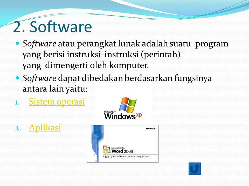 2. Software Software atau perangkat lunak adalah suatu program yang berisi instruksi-instruksi (perintah) yang dimengerti oleh komputer. Software dapa