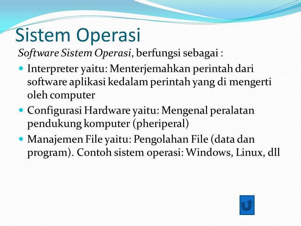 Sistem Operasi Software Sistem Operasi, berfungsi sebagai : Interpreter yaitu: Menterjemahkan perintah dari software aplikasi kedalam perintah yang di