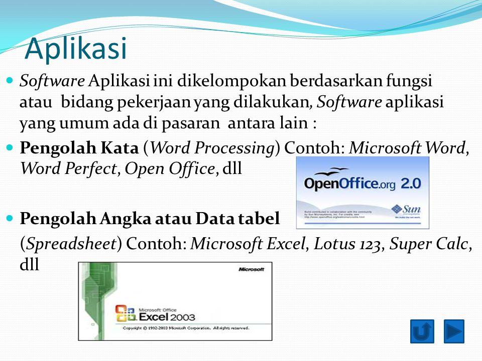 Aplikasi Software Aplikasi ini dikelompokan berdasarkan fungsi atau bidang pekerjaan yang dilakukan, Software aplikasi yang umum ada di pasaran antara lain : Pengolah Kata (Word Processing) Contoh: Microsoft Word, Word Perfect, Open Office, dll Pengolah Angka atau Data tabel (Spreadsheet) Contoh: Microsoft Excel, Lotus 123, Super Calc, dll