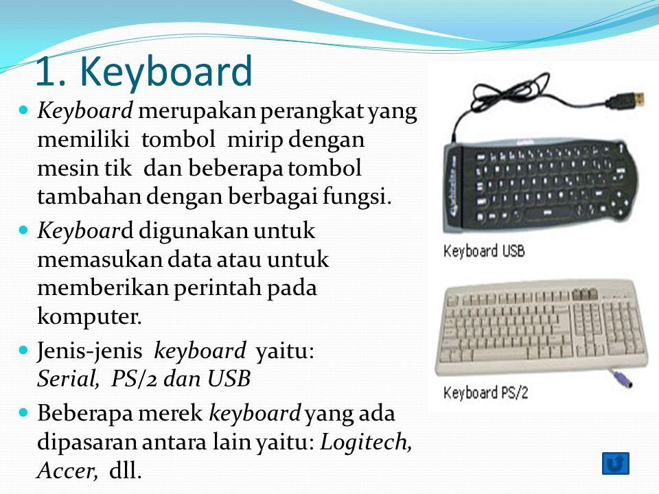 1. Keyboard Keyboard merupakan perangkat yang memiliki tombol mirip dengan mesin tik dan beberapa tombol tambahan dengan berbagai fungsi. Keyboard dig