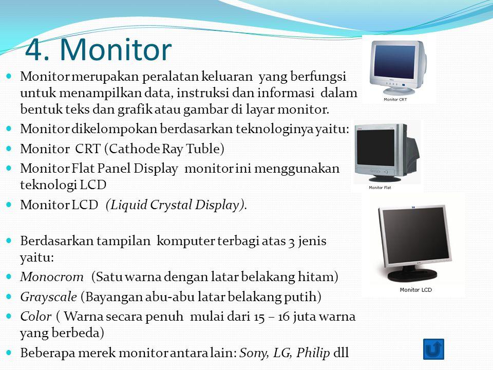 4. Monitor Monitor merupakan peralatan keluaran yang berfungsi untuk menampilkan data, instruksi dan informasi dalam bentuk teks dan grafik atau gamba