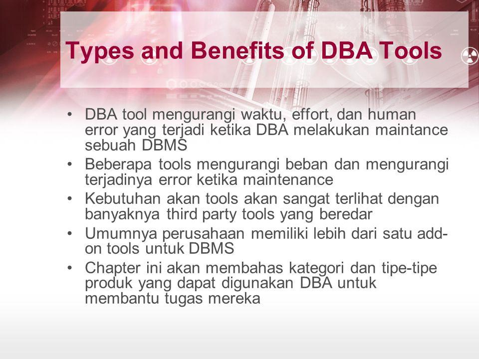 Evaluating DBA Tool Vendors Perusahaan besar memfasilitasi staff DBA-nya dengan advance software tools untuk mengotomatisasi tugas dari database administrator Multiple categories dari database tool tersedia bagi perusahaan untuk meningkatakan efisiensi database administration.