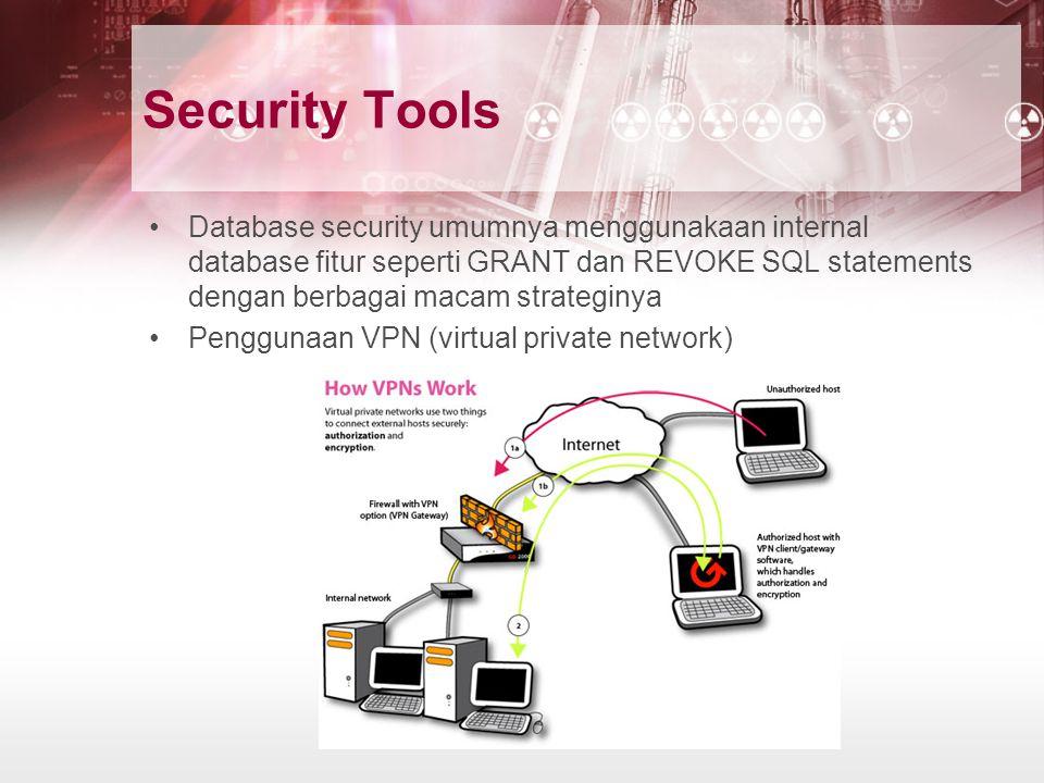 Security Tools Database security umumnya menggunakaan internal database fitur seperti GRANT dan REVOKE SQL statements dengan berbagai macam strateginy