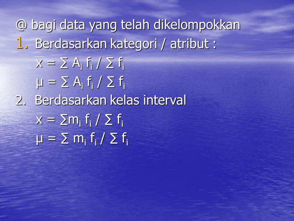 @ bagi data yang telah dikelompokkan 1. Berdasarkan kategori / atribut : x = ∑ A i f i / ∑ f i x = ∑ A i f i / ∑ f i µ = ∑ A i f i / ∑ f i µ = ∑ A i f