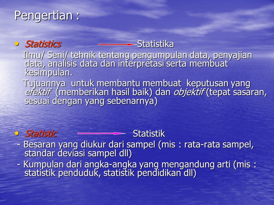 Pengertian : Statistics Statistika Statistics Statistika Ilmu/ Seni/ tehnik tentang pengumpulan data, penyajian data, analisis data dan interpretasi s