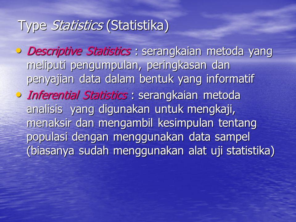 Type Statistics (Statistika) Descriptive Statistics : serangkaian metoda yang meliputi pengumpulan, peringkasan dan penyajian data dalam bentuk yang i