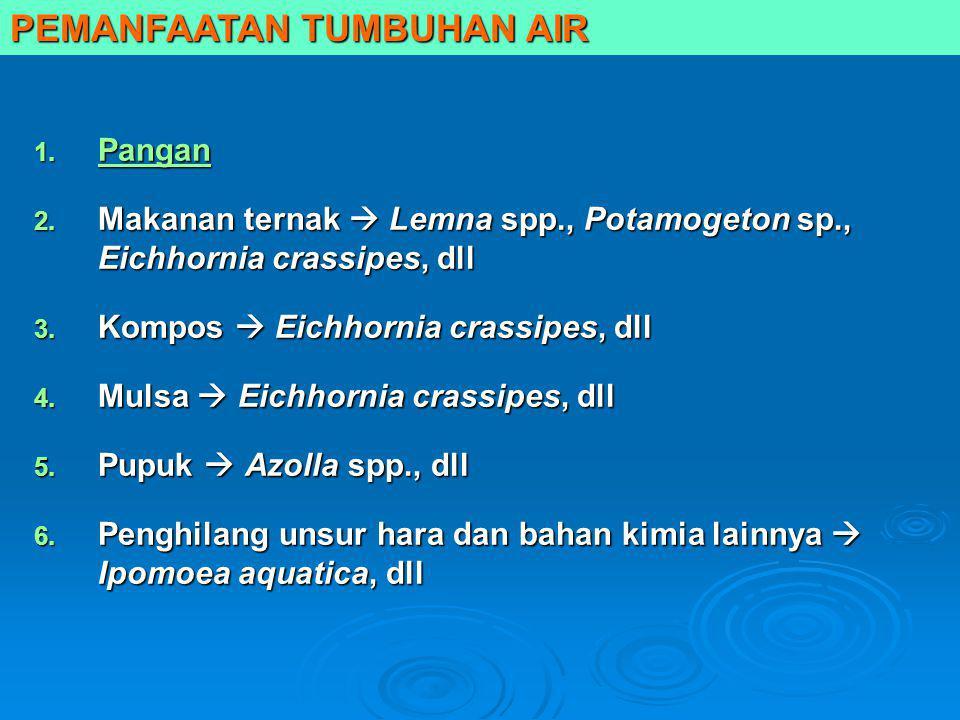 1. Pangan Pangan 2. Makanan ternak  Lemna spp., Potamogeton sp., Eichhornia crassipes, dll 3. Kompos  Eichhornia crassipes, dll 4. Mulsa  Eichhorni