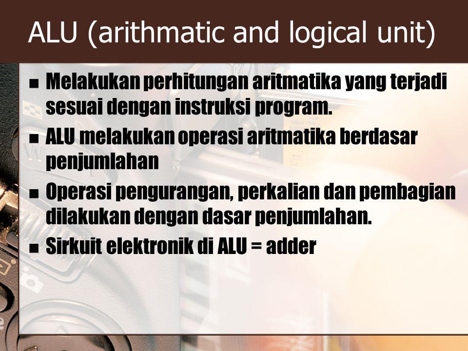 ALU (arithmatic and logical unit) Melakukan perhitungan aritmatika yang terjadi sesuai dengan instruksi program. ALU melakukan operasi aritmatika berd
