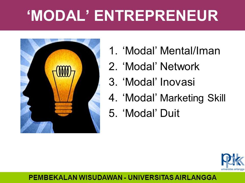 'MODAL' ENTREPRENEUR 1.'Modal' Mental/Iman 2.'Modal' Network 3.'Modal' Inovasi 4.'Modal' Marketing Skill 5.'Modal' Duit PEMBEKALAN WISUDAWAN - UNIVERS