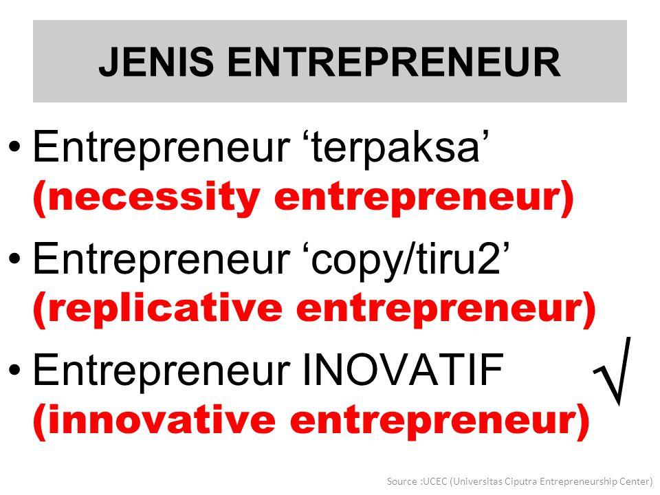 JENIS ENTREPRENEUR Entrepreneur 'terpaksa' (necessity entrepreneur) Entrepreneur 'copy/tiru2' (replicative entrepreneur) Entrepreneur INOVATIF (innova