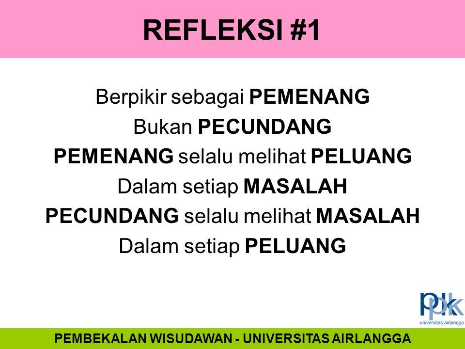 REFLEKSI #1 Berpikir sebagai PEMENANG Bukan PECUNDANG PEMENANG selalu melihat PELUANG Dalam setiap MASALAH PECUNDANG selalu melihat MASALAH Dalam seti