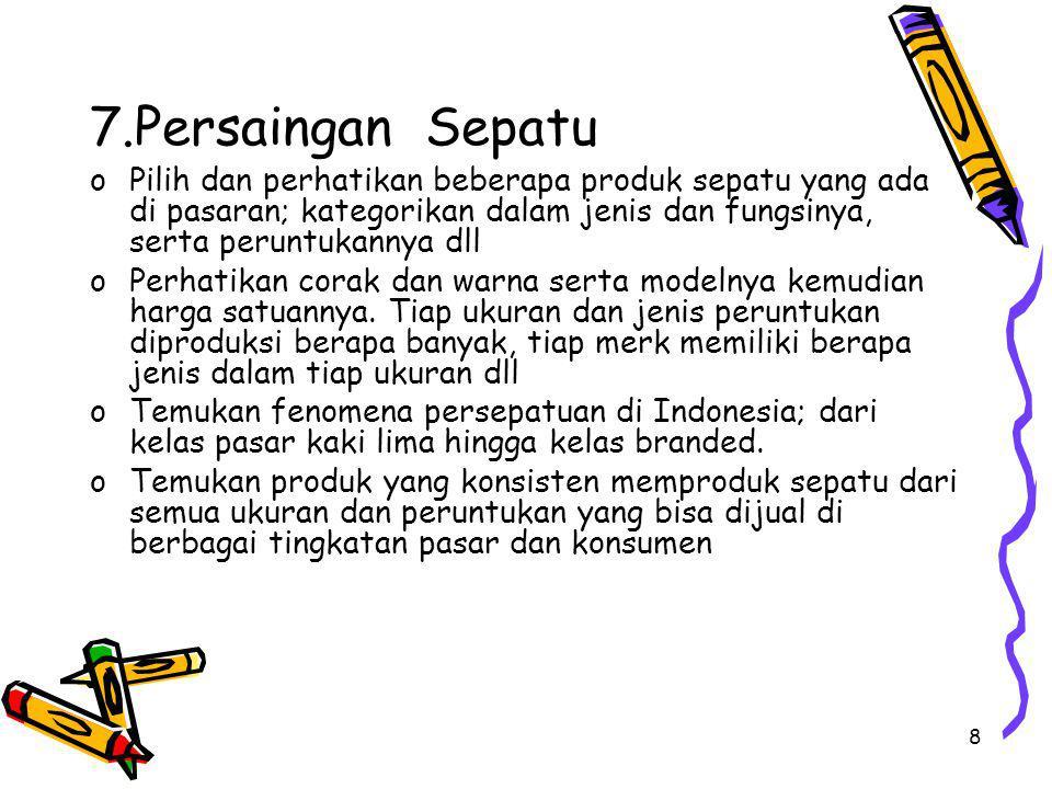 9 8.Persaingan Rokok oCarilah data tentang industri rokok di Indonesia oAnalisislah persoalan yang muncul dengan berbagai hambatan, tantangan dan larangan dengan alasan kesehatan oTemukan fenomena kenaikan permintaan atau sekurang- kurangnya tidak terpengaruhnya produksi akibat adanya iklan anti rokok oCari alasan mengapa pesoalan rokok jadi bahasan menarik di kalangan penggiat kesehatan sekaligus persoalan serius dari kalangan industri rokok yang jelas-jelas memberikan kontribusi cash in yang sangat besar oRamalkan apa yang akan terjadi 10 -20 th yad tentang fenomena rokok ini