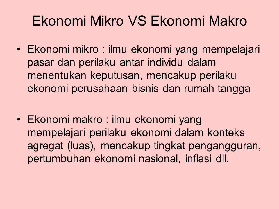 Ekonomi Mikro VS Ekonomi Makro Ekonomi mikro : ilmu ekonomi yang mempelajari pasar dan perilaku antar individu dalam menentukan keputusan, mencakup pe