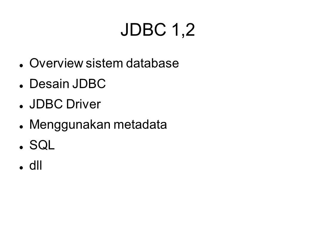 JDBC 1,2 Overview sistem database Desain JDBC JDBC Driver Menggunakan metadata SQL dll